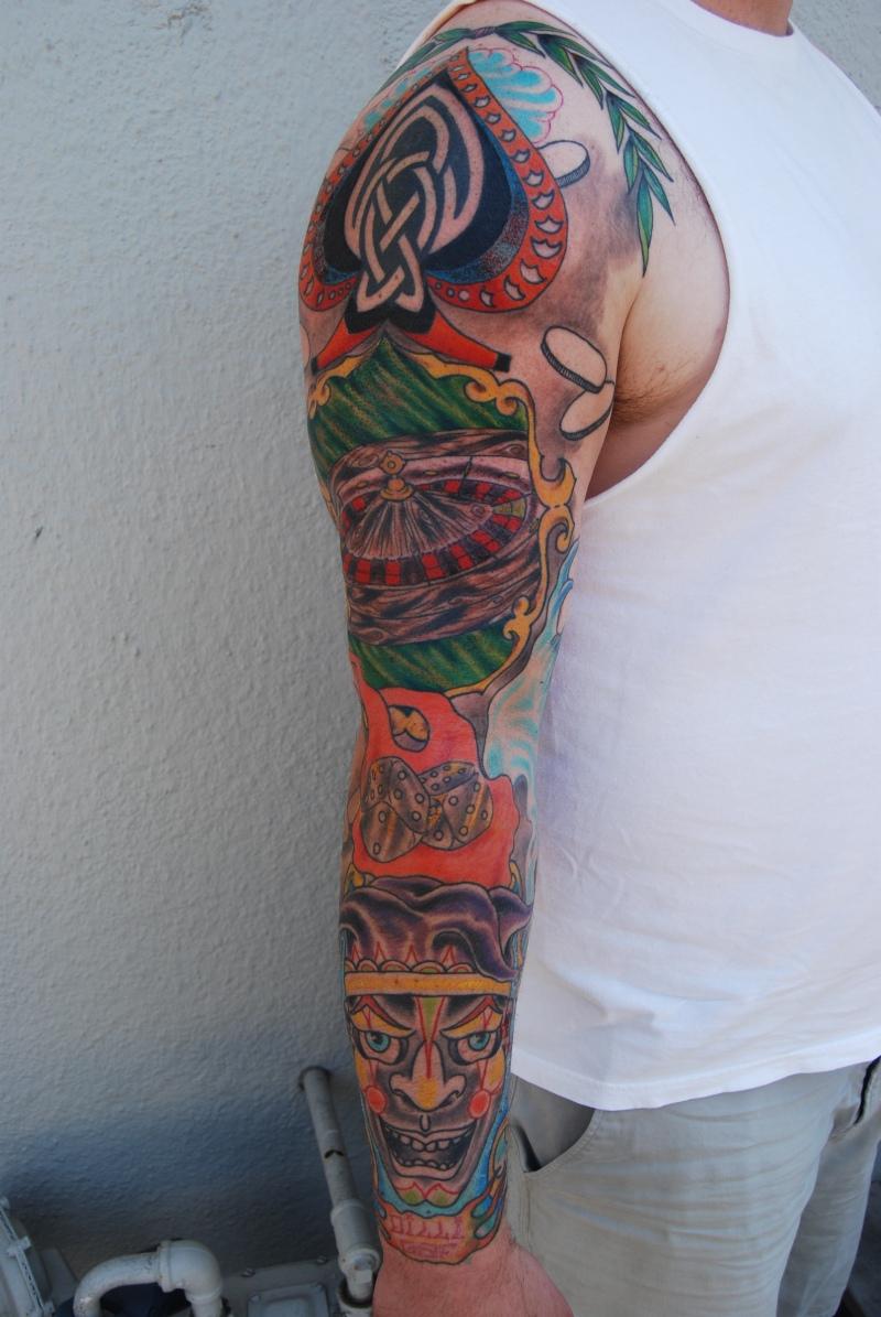 Full sleeve gambling tattoo design for men