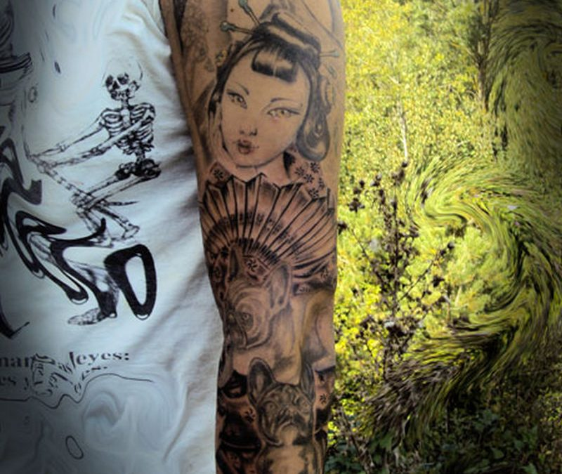 Full sleeve geisha tattoo design