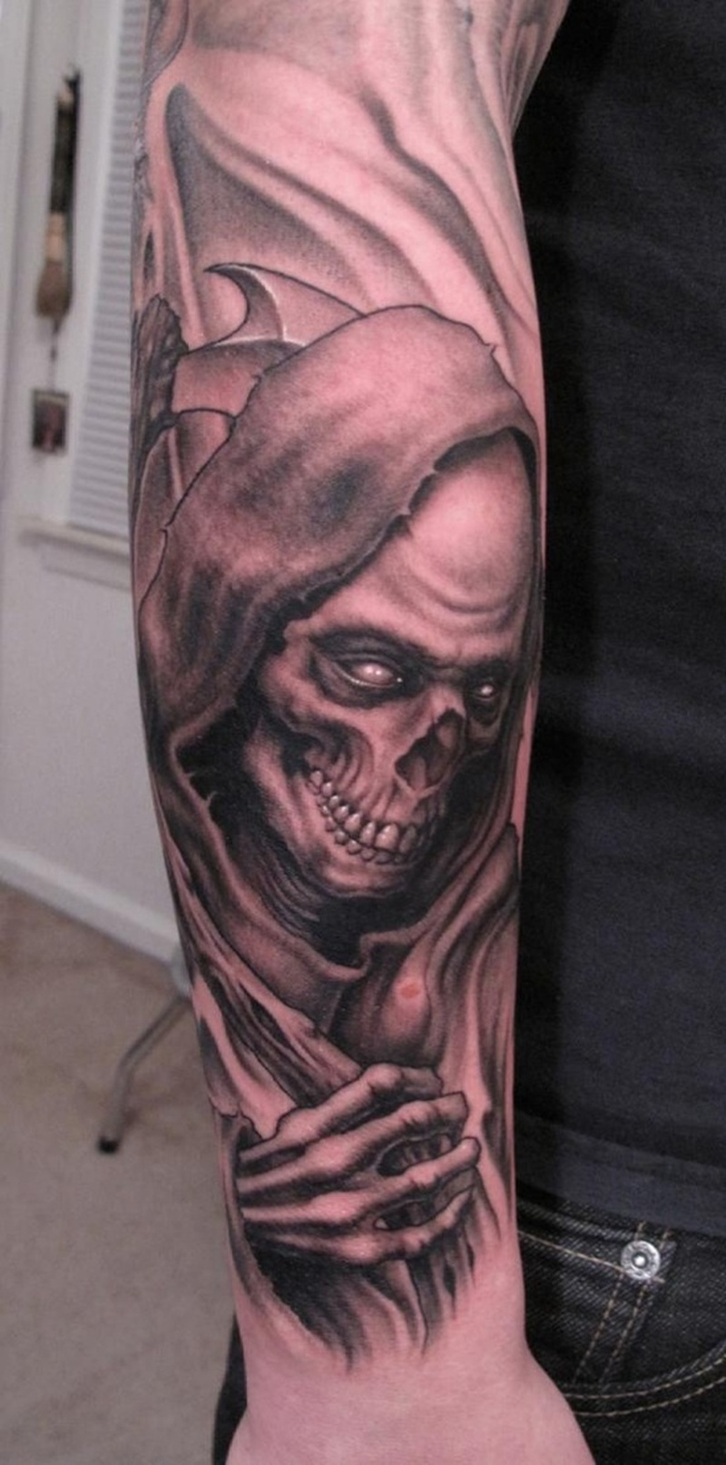 Full sleeve grim reaper tattoo design