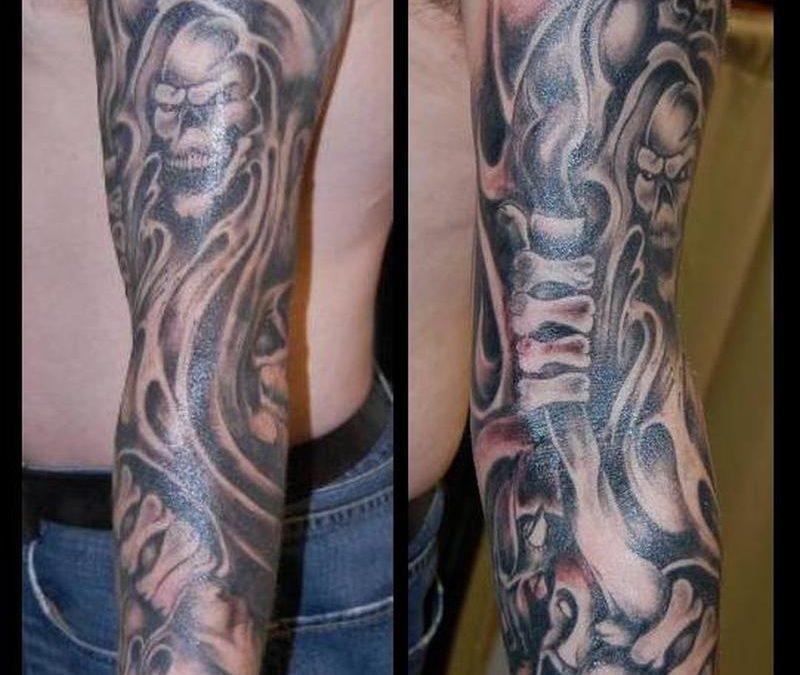 Full sleeve grim reaper tattoo for men