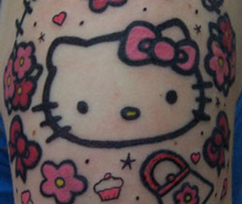 Funky hello kitty tattoo design