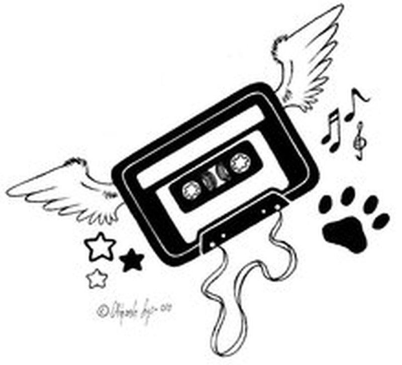 Funky winged music tattoo sample
