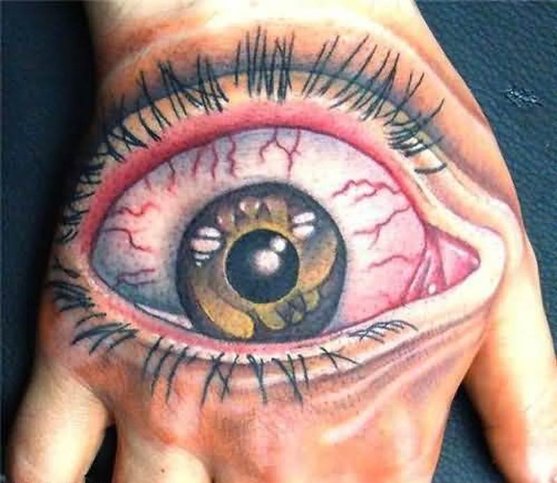 Funny big eye tattoo on hand