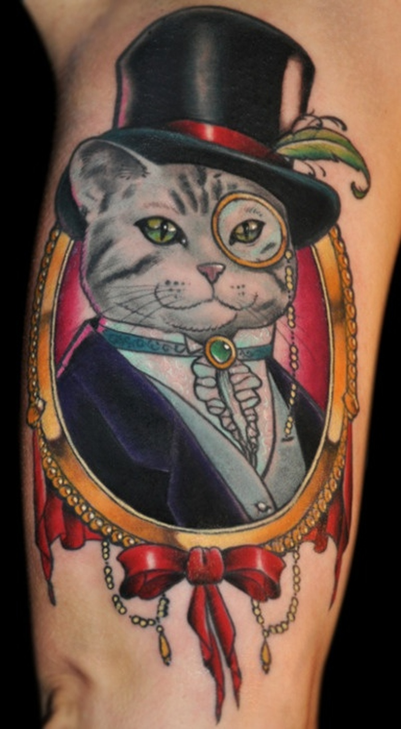 Funny cat tattoo picture tattoos book tattoos for Tatoo gatos
