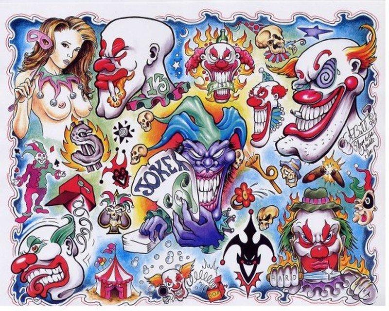 Funny clown tattoo designs