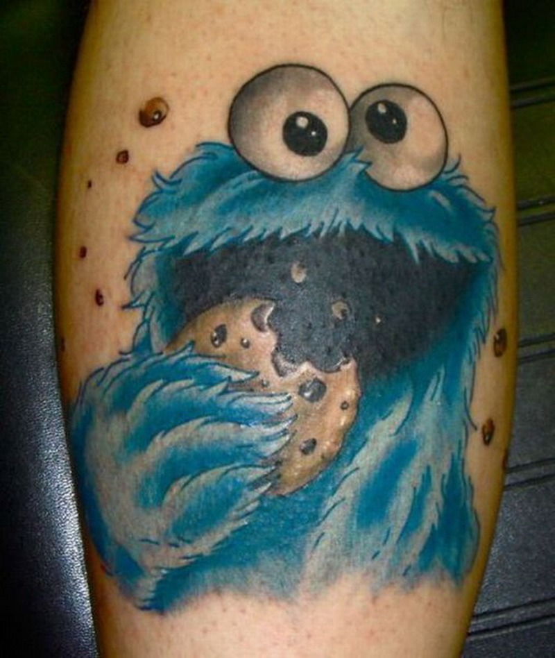 Funny cookie monster tattoo design