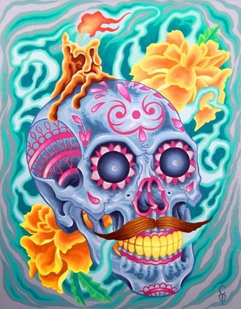 Funny dia de los muertos tattoo picture