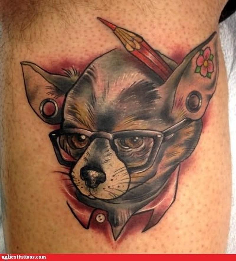 Funny dog face tattoo