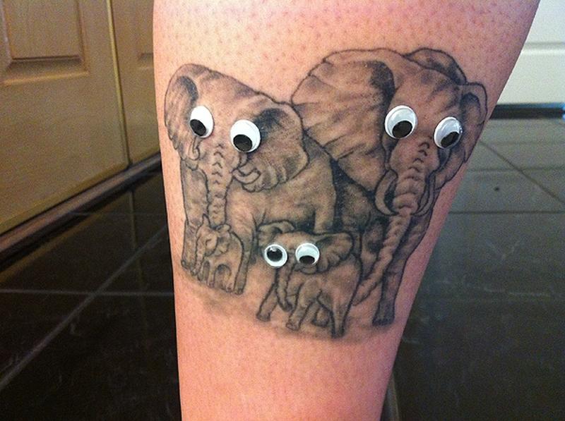 Funny elephant tattoo design