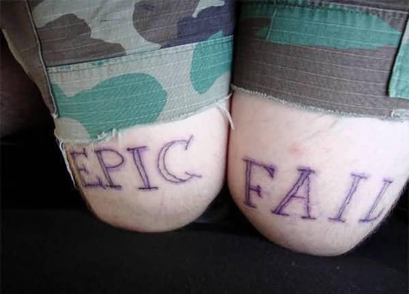 Funny epic fail tattoo on knees