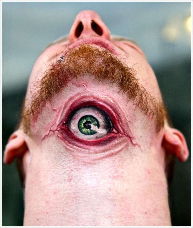 Funny eye tattoo on neck