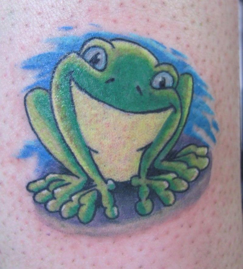 Funny green frog tattoo design