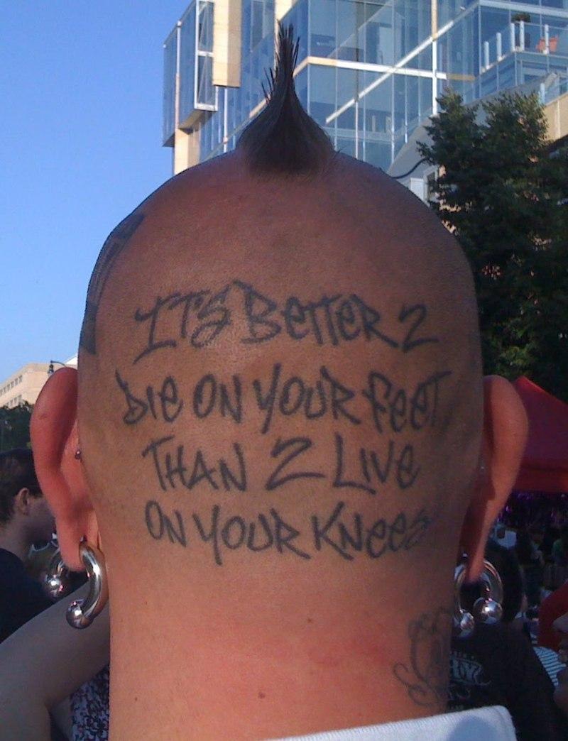 Funny head tattoo design 2