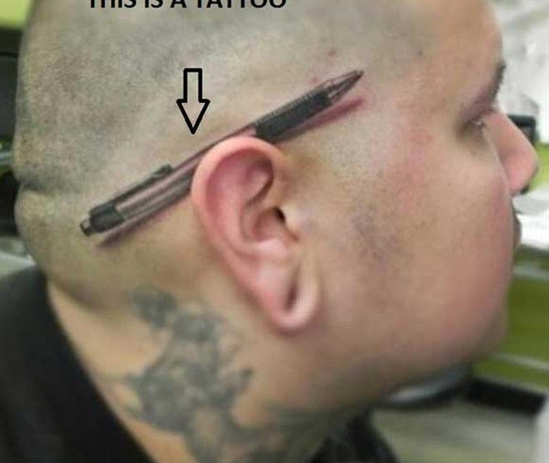 Funny head tattoo for men