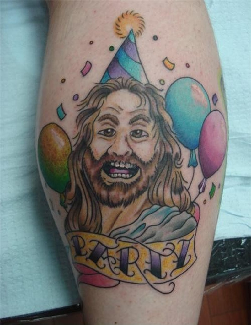 Funny jesus tattoo with balloons