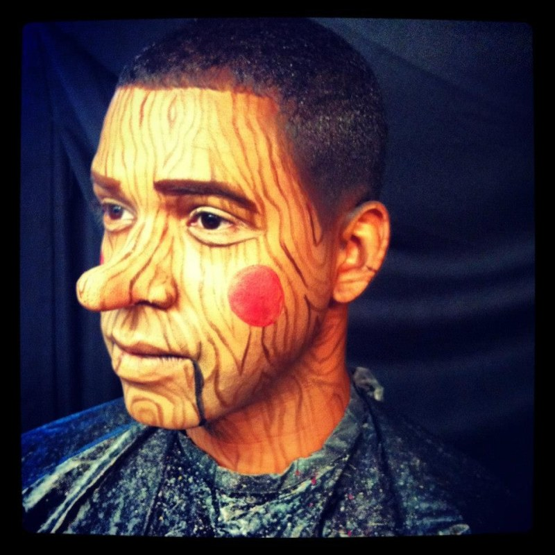 Funny makeup tattoo on face