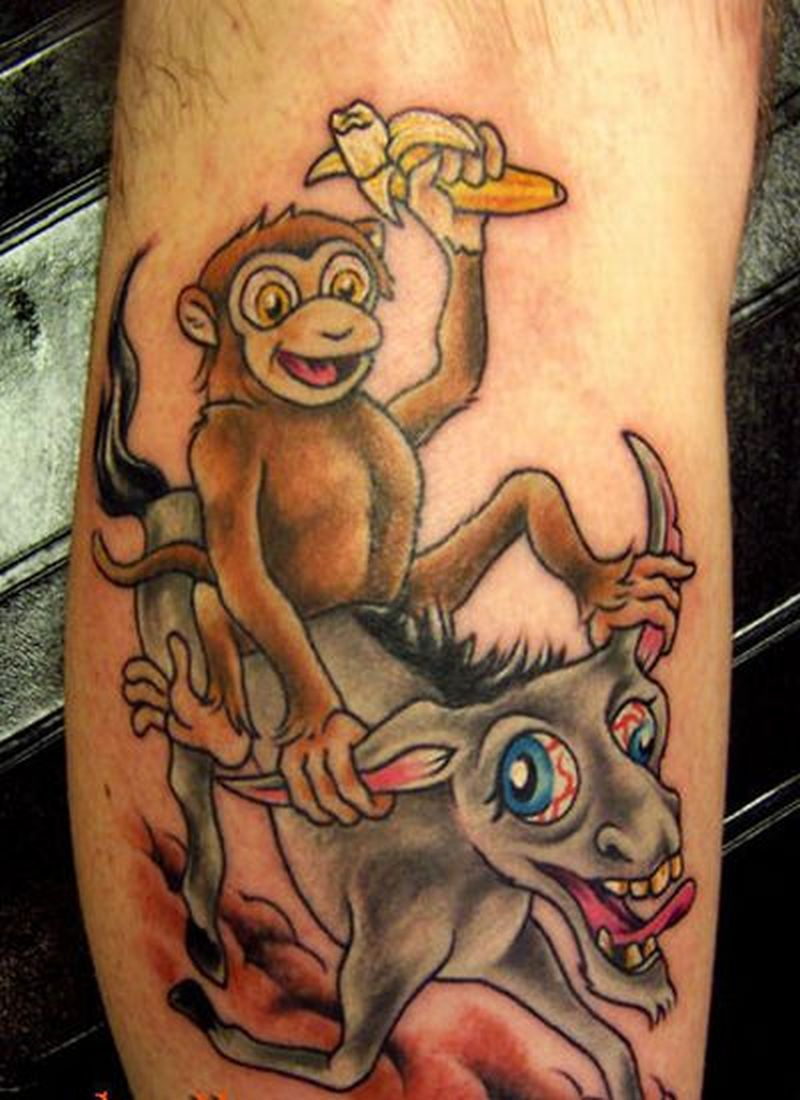 Funny monkey tattoo design