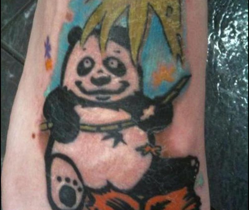 Funny panda tattoo on foot