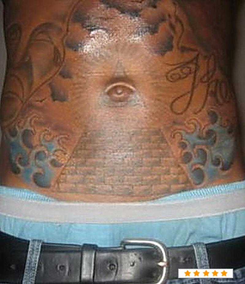 Funny stomach tattoo design