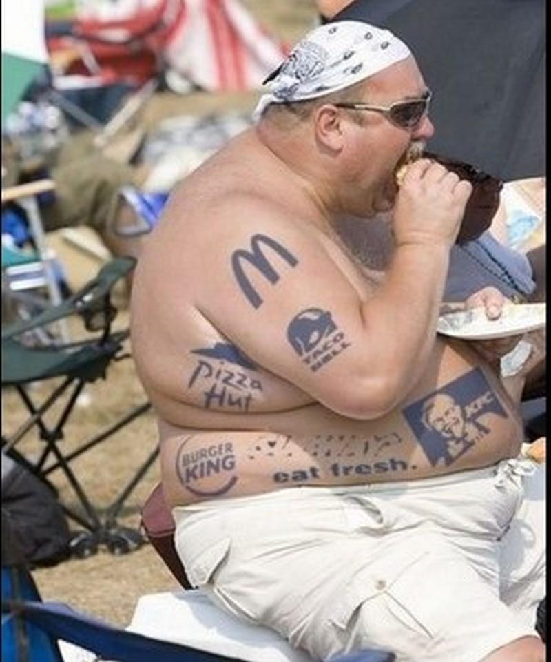 Funny tattoo designs on fat body
