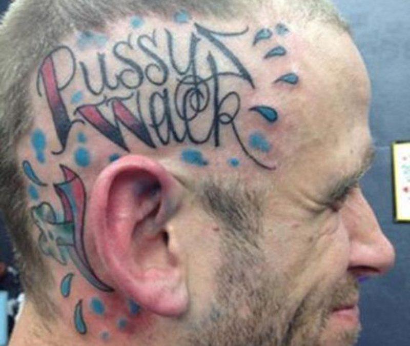 Funny text tattoo on head 2