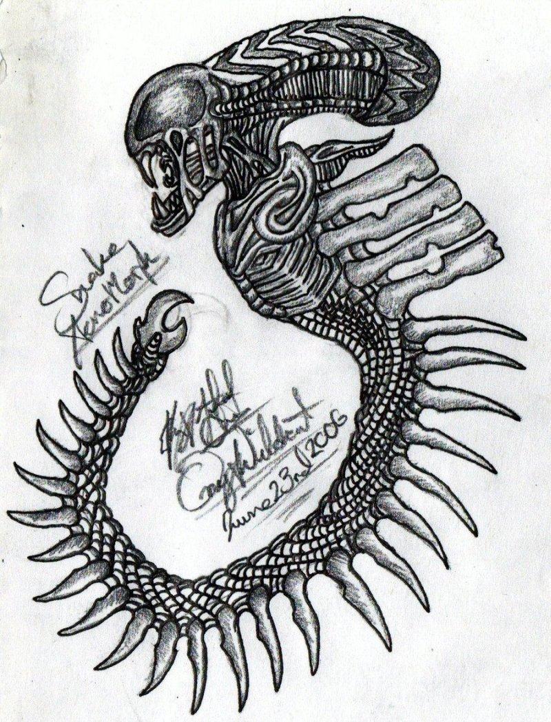 Future alien tattoo design