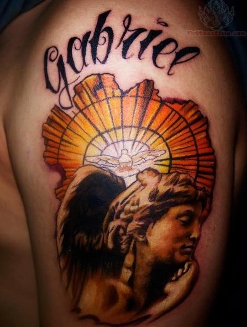 Gabriee angel tattoo on half sleeve