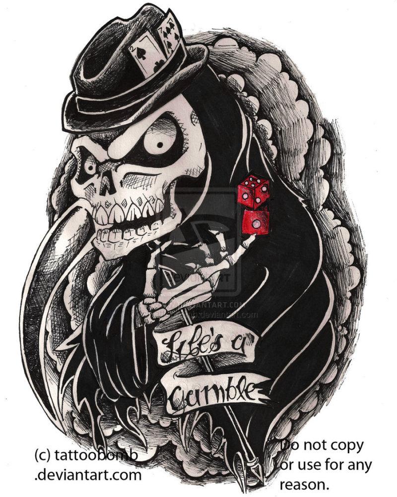Gambling grim reape tattoo design