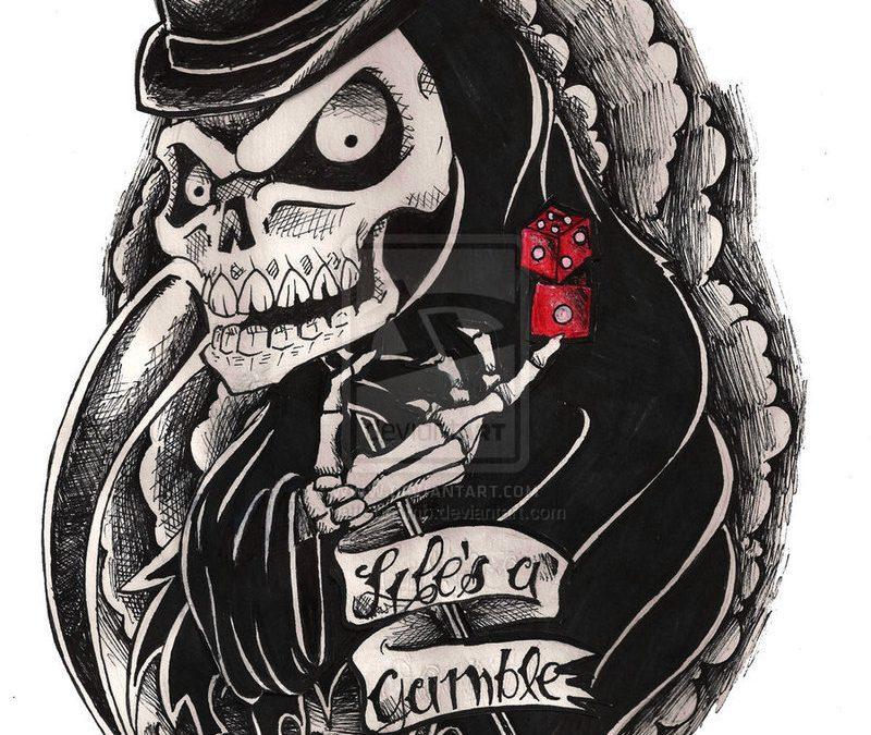 Gambling grim reaper banner tattoo