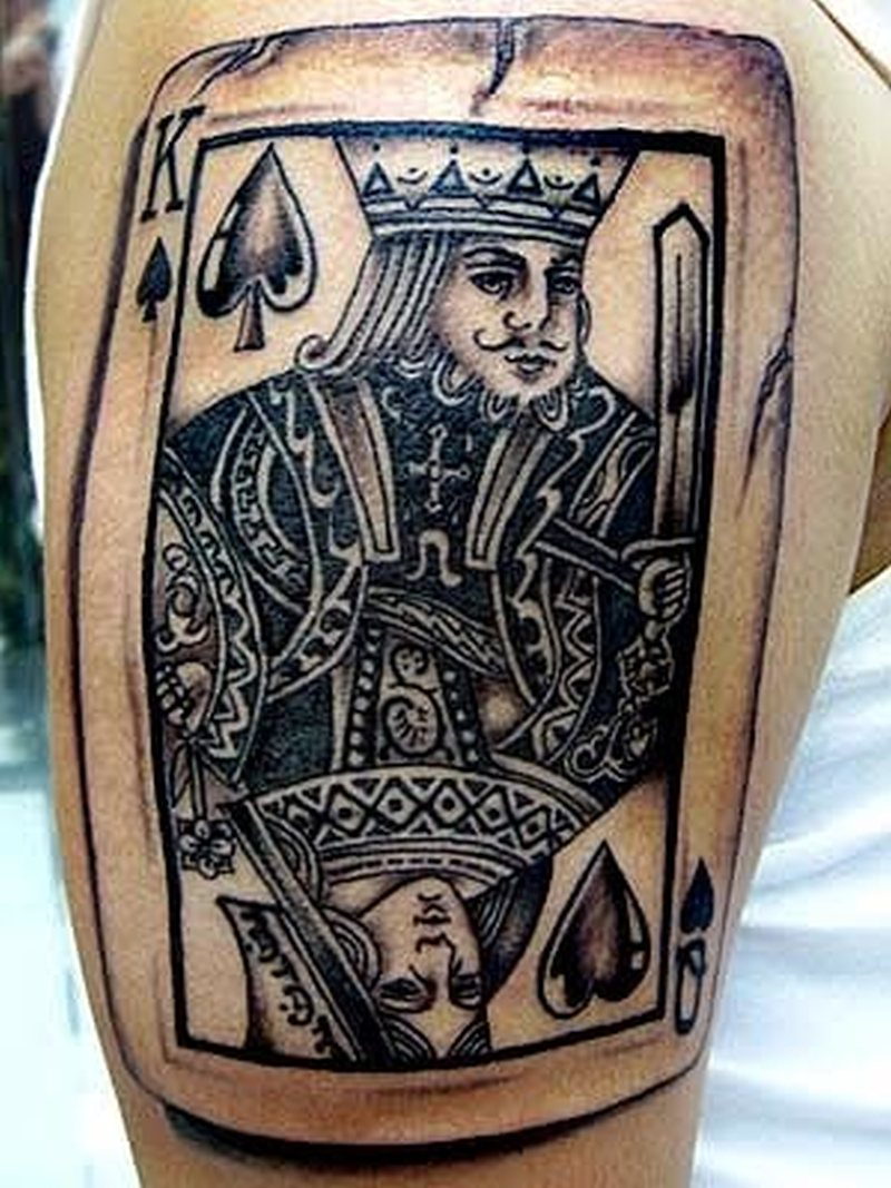 Gambling king card tattoo design
