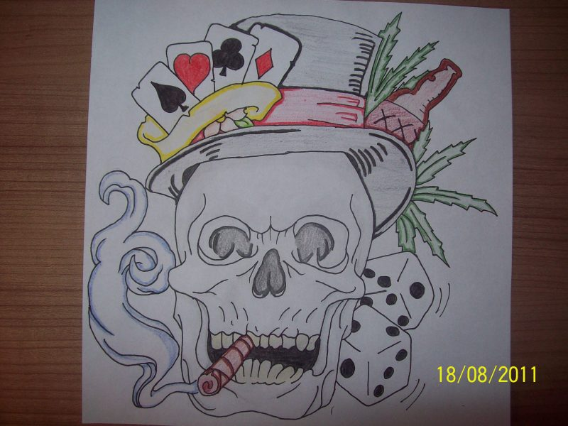 Gambling skull tattoo drawing