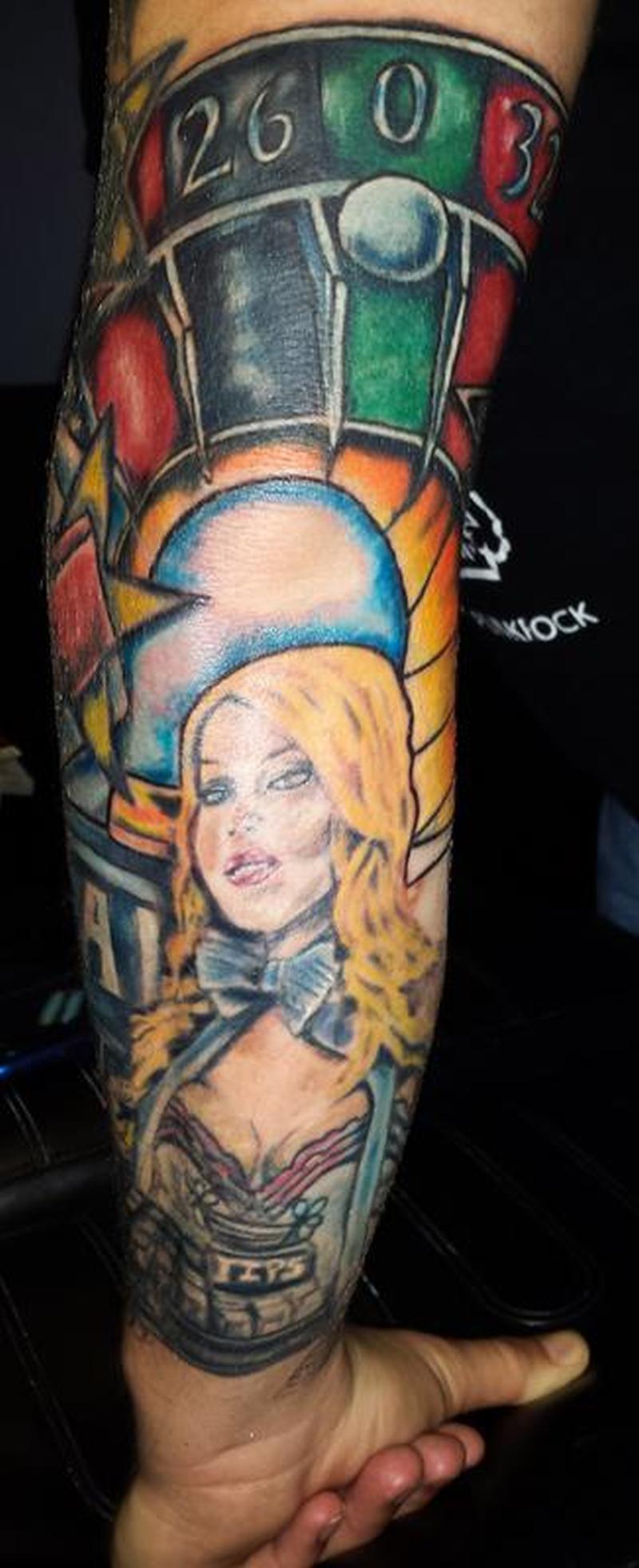 Gambling sleeve tattoo design