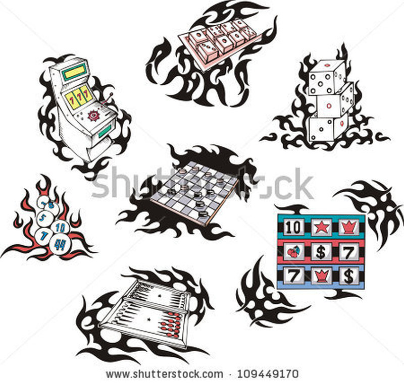 Gambling tattoo with flames set of color vector illustrations