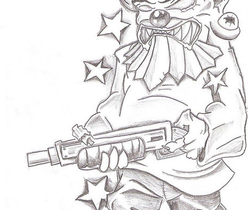 Gangsta clown drawing 2 tattoo