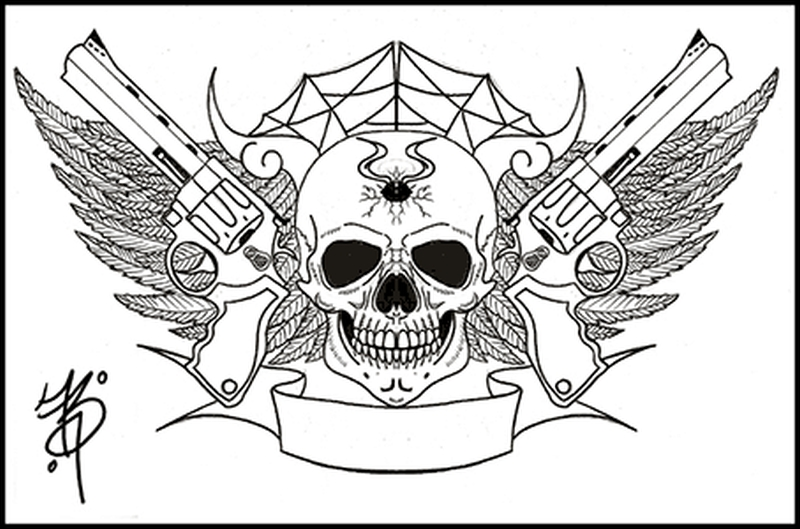 b2f78ca65c8e5 Gangsta gun skull tattoo designs - Tattoos Book - 65.000 Tattoos Designs