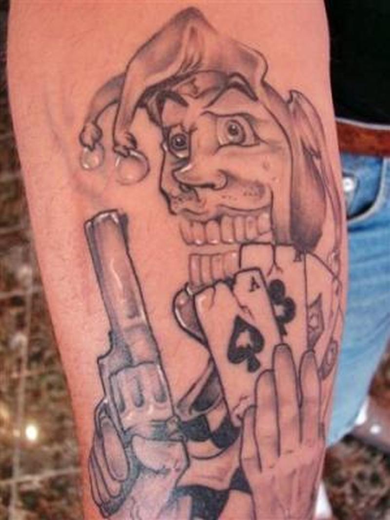 Gangsta joker with cards tattoo design