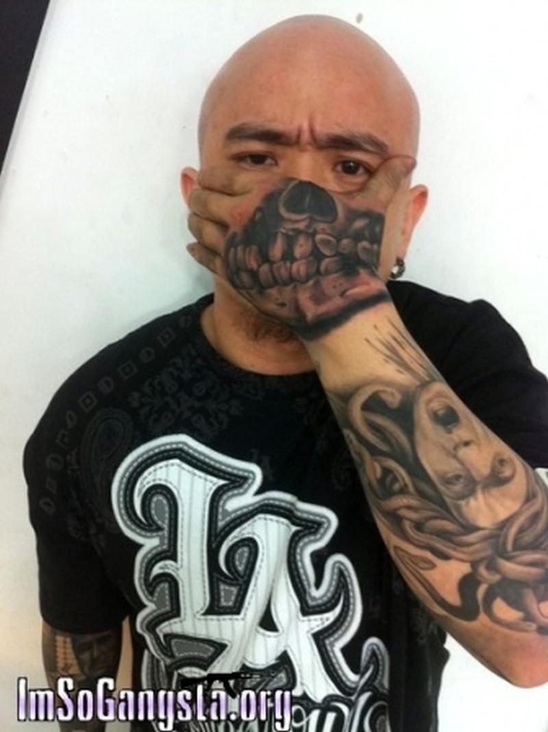 fe633a1393cdd Gangsta skull tattoo on hand for tough guys - Tattoos Book - 65.000 ...