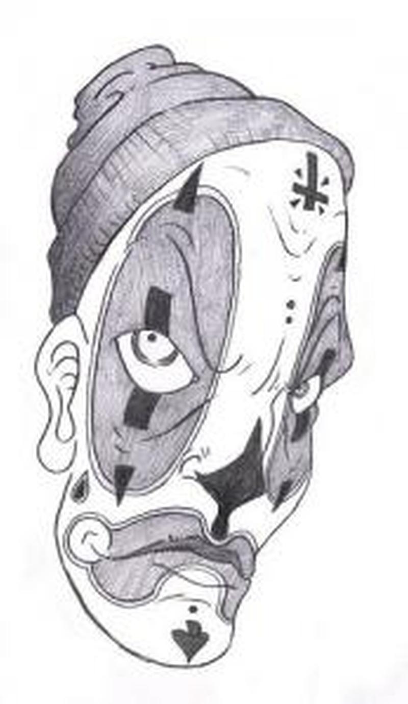 Gangster clown design 3 tattoo