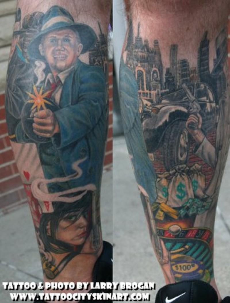Gangster with gun tattoo design on leg