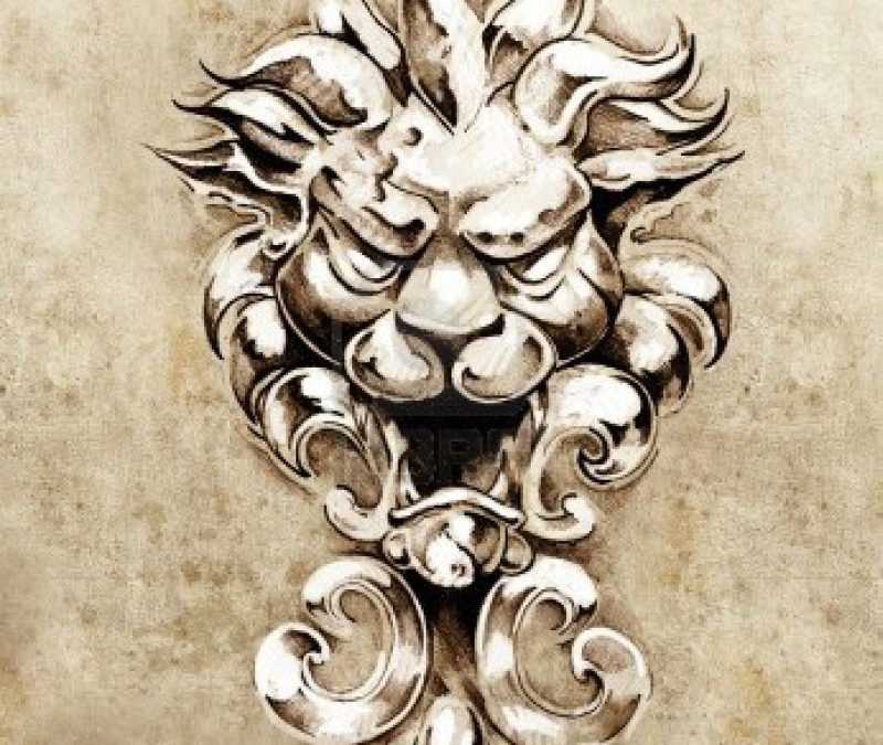 Gargoyle lion illustration tattoo sketch
