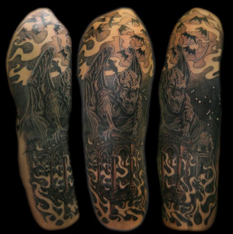 Gargoyle n bats tattoo design on sleeve