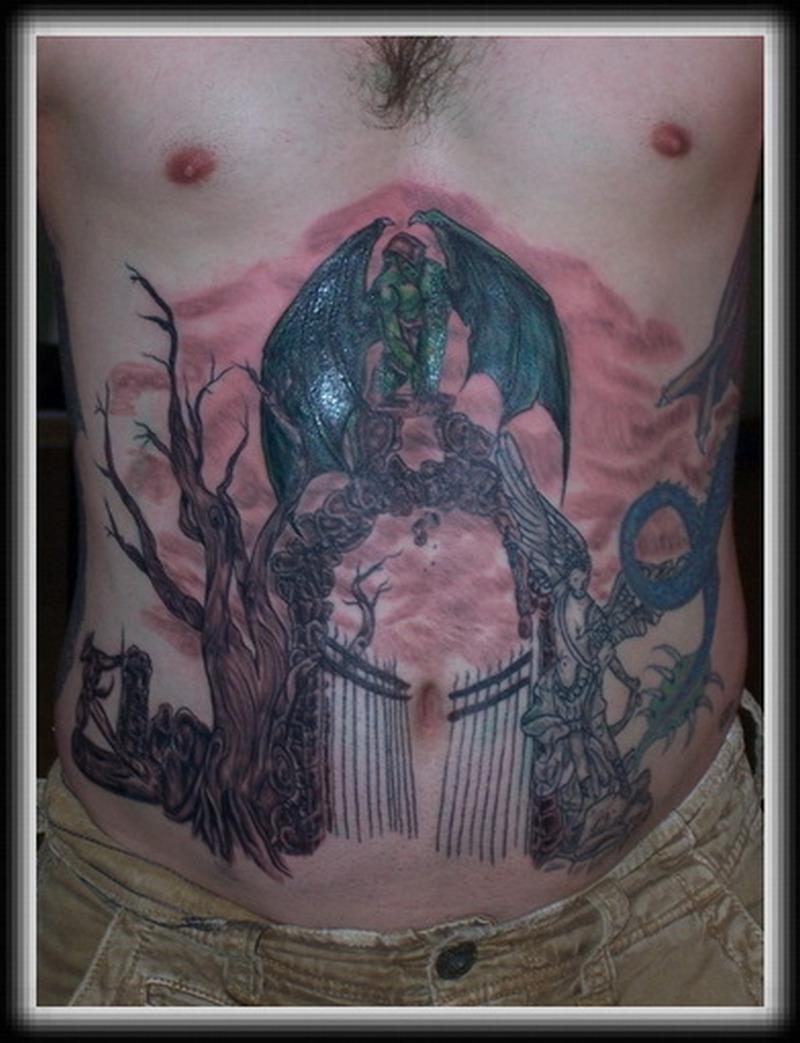 Gargoyle world tattoo design on stomach