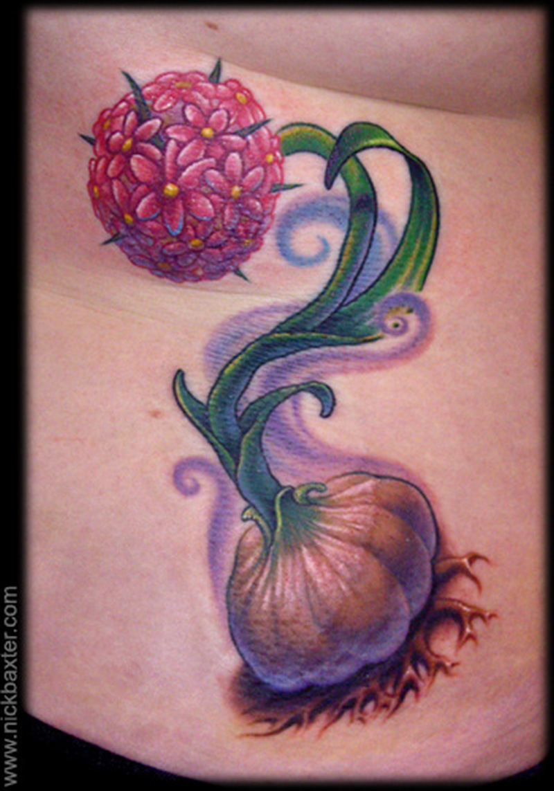 Garlic flower tattoo design