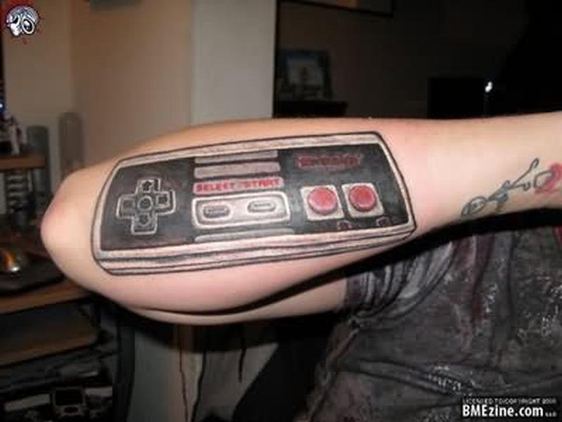 Geek tattoo on elbow