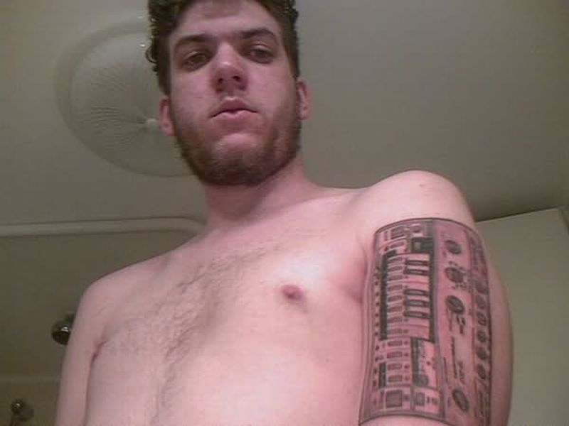 Geek tattoo on muscles for tough guys