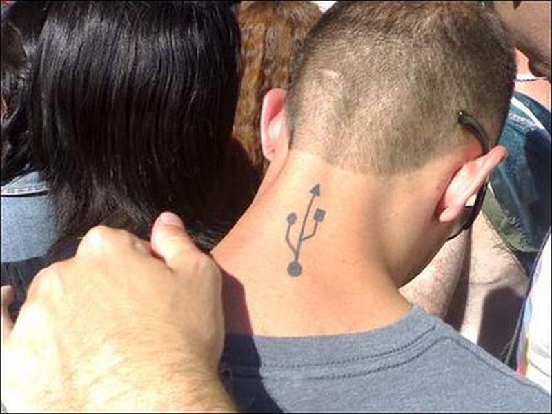 Geek usb tattoo on neck back