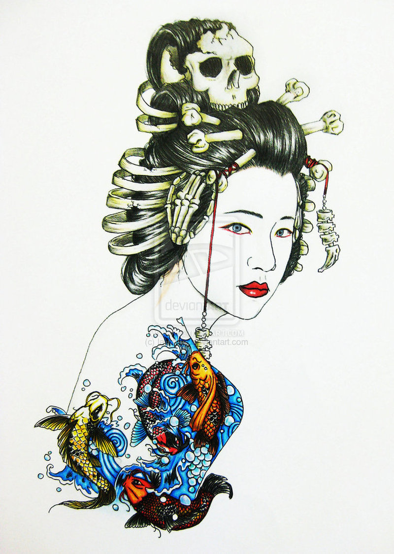 Geisha asian tattoo design
