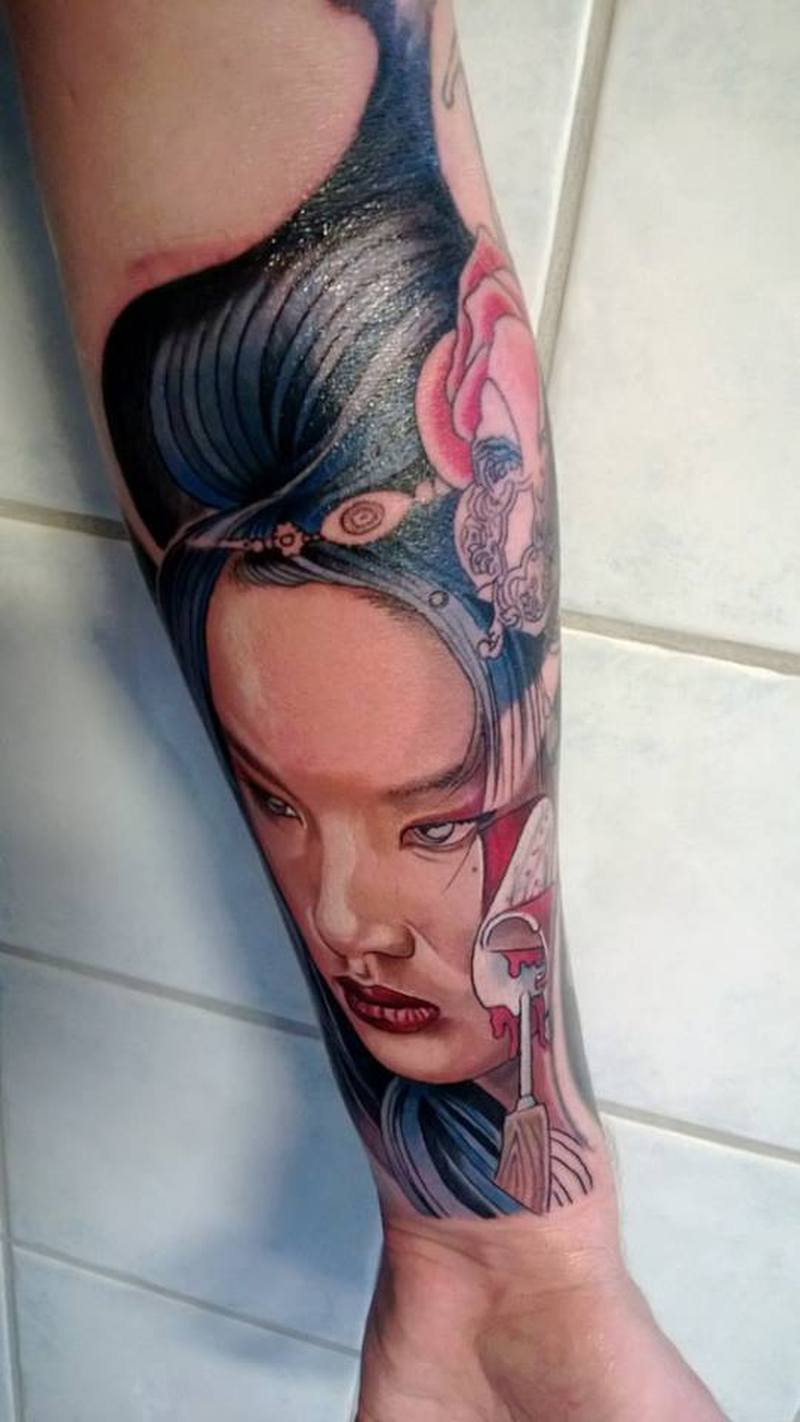 0f5648fb5 Geisha face tattoo on lower arm - Tattoos Book - 65.000 Tattoos Designs