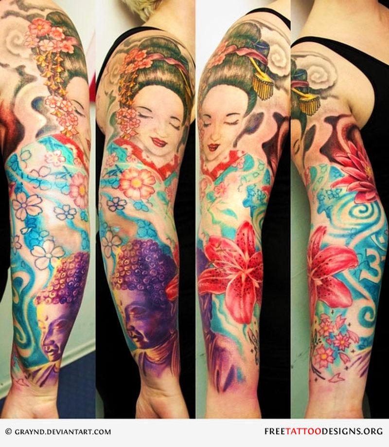Geisha floral tattoo design on sleeve