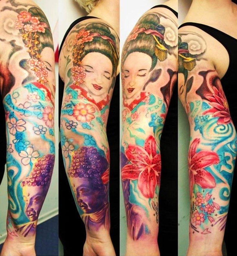 Geisha hibiscus sleeve tattoo design